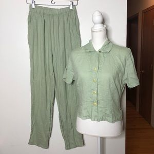 Flax pant/shirt suit mint green linen S Small